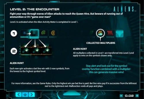 Вторая бонусная игра в аппарате Aliens