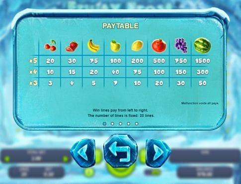 Таблица выплат в аппарате Fruity Frost