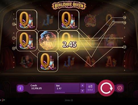 Выигрышная комбинация символов в автомате Burlesque Queen