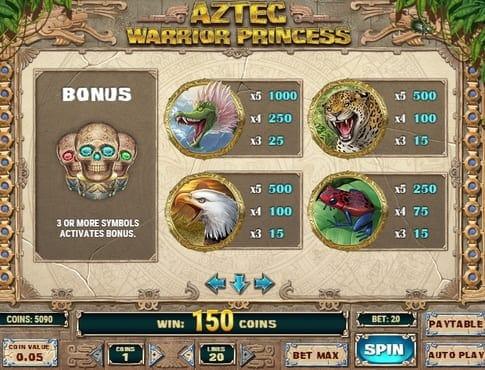Символы и коэффициенты в Aztec Warrior Princess