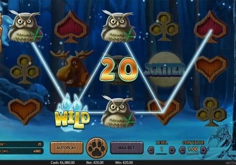 Комбинация с диким символом в игровом аппарате Wolf Cub