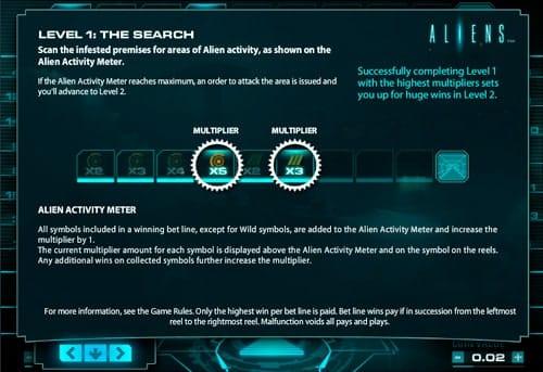 Первый призовой раунд в игровом автомате Aliens