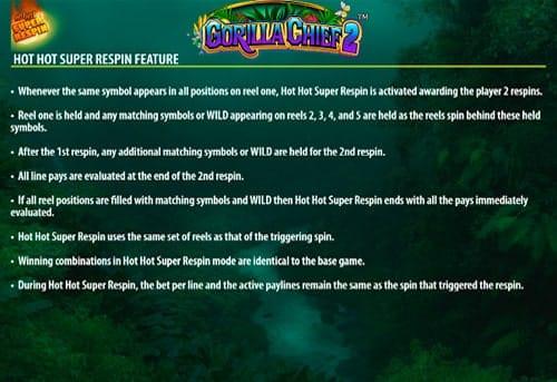 Респины в игровом автомате Gorilla Chief 2