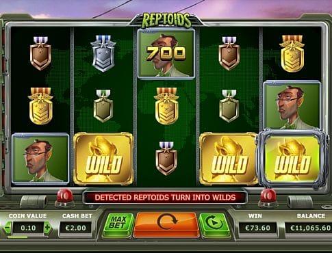 Призовая комбинация с диким знаком в игровом автомате Reptoids