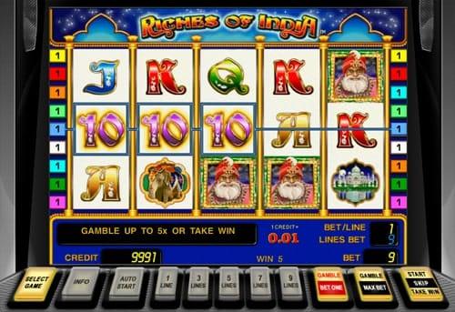Призовая комбинация символов в игровом автомате Riches of India