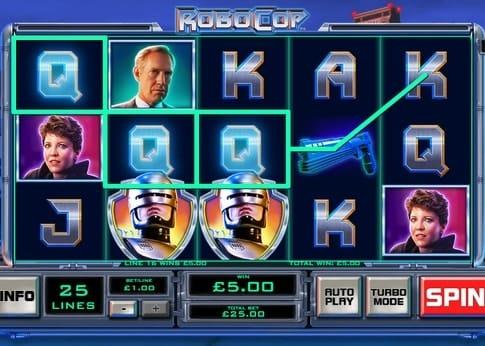 Выпадение выигрышной комбинации в игровом автомате Robocop