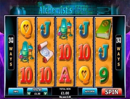 Удачная комбинация символов в игровом автомате The Alchemist`s Spell