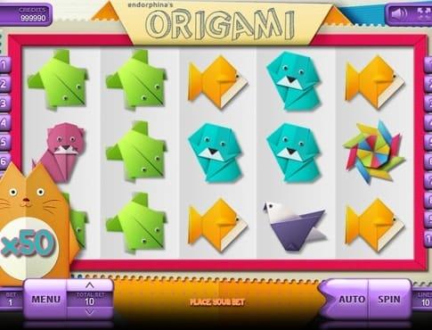 Комбинация символов в игровом автомате Origami
