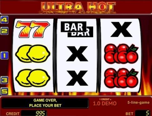 Игровые символы на барабанах в слоте Ultra Hot