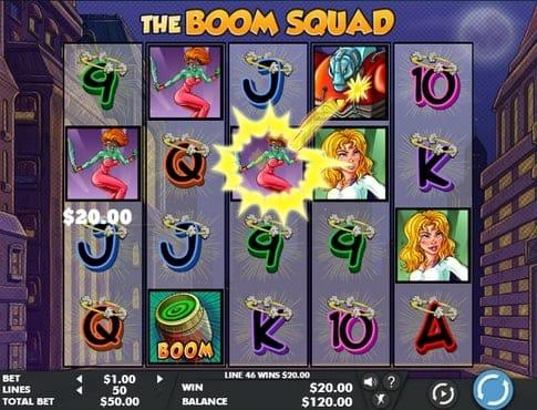 Выигрышная комбинация символов в автомате The Boom Squad