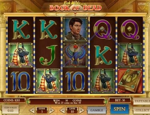 Выигрышная комбинация в онлайн автомате Book of Dead