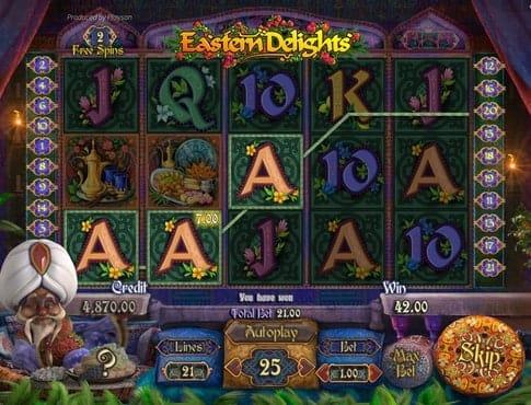 Выигрышная комбинация символов в онлайн аппарате Eastern Delights