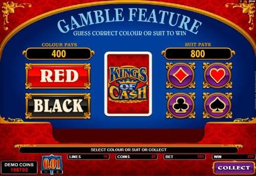 Риск-игра в онлайн аппарате Kings of Cash