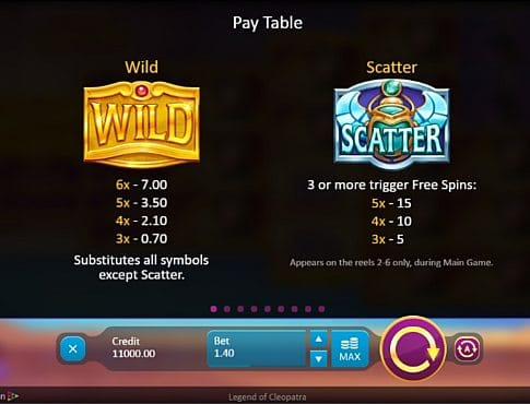 Wild и Scatter в онлайн аппарате Legend of Cleopatra