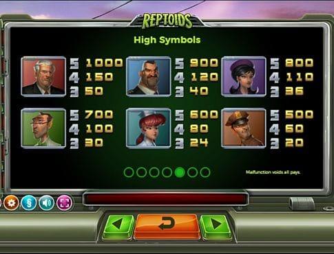Выплаты за символы в онлайн аппарате Reptoids