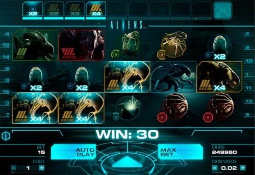 Выигрышная последовательность в онлайн автомате Aliens