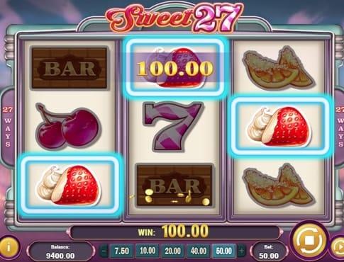 Выигрышная комбинация символов в онлайн автомате Sweet 27
