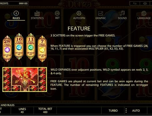 Фриспины и выплаты за Wild в онлайн слоте Durga